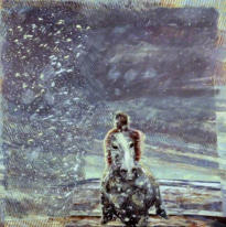 Horseman in Snow Flurry. Oil on Canvas. C.1978. Collection Open Universtiy