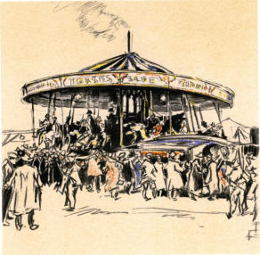 Leyburn Fair. C.1955  Pen, coloured pencils and chalk